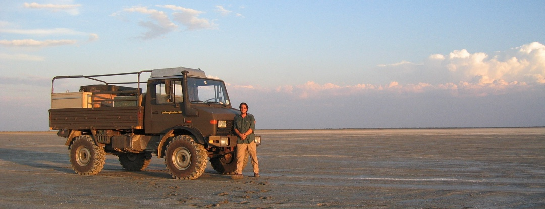 George Bull owner of UnimogCenter.com on salt pan with Unimog U1300L
